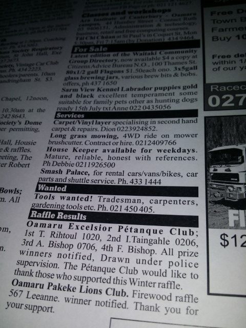 The Oamaru Telegram Classifieds